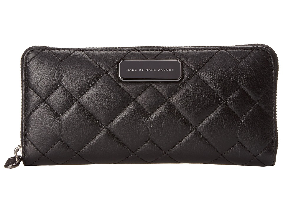 Marc by Marc Jacobs - Sophisticato Crosby Quilt Leather Slim Zip Around (Black) Wallet