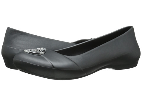 Crocs - Gianna Disc Flat (Graphite/Silver) Women's Flat Shoes