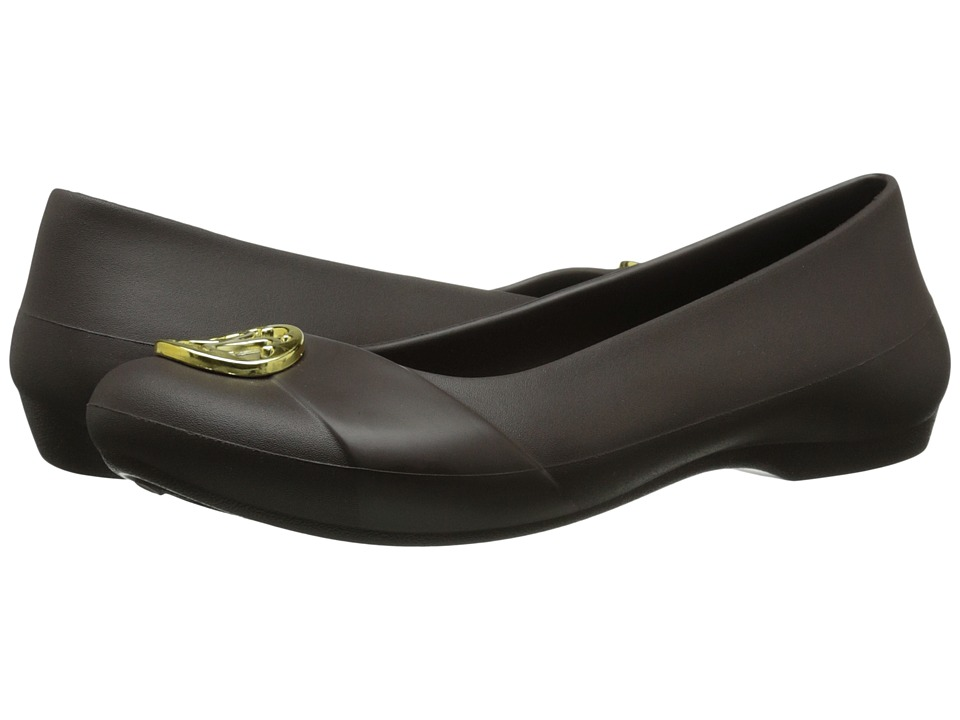 Crocs - Gianna Disc Flat (Espresso/Gold) Women