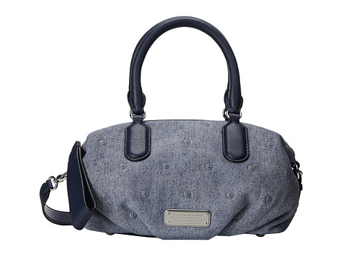 Marc by Marc Jacobs - New Q Suede Denim Studs Small Legend (Navy Denim Multi) Handbags