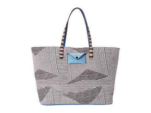 Marc by Marc Jacobs - Metropoli Optical Stripe Multi Travel Tote (Black Multi) Tote Handbags