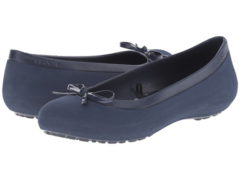 Crocs - Mammoth Bow Flat (Navy/Navy) Women's Flat Shoes