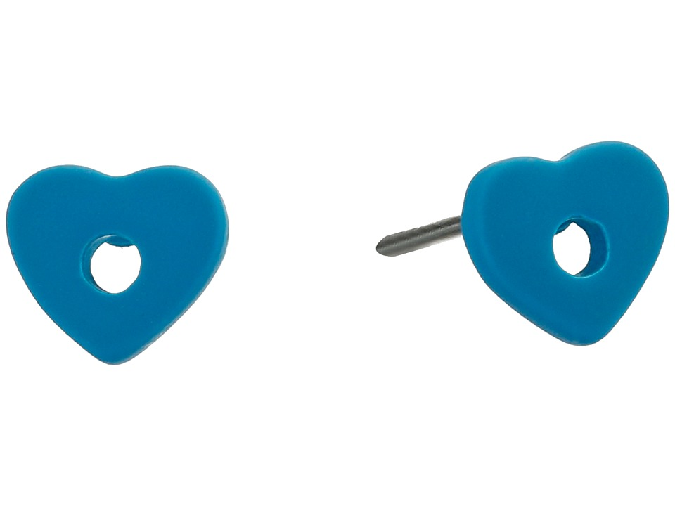 Marc by Marc Jacobs - Heart Core Colored Hole Punch Heart Stud Earrings (Turkish Tile) Earring