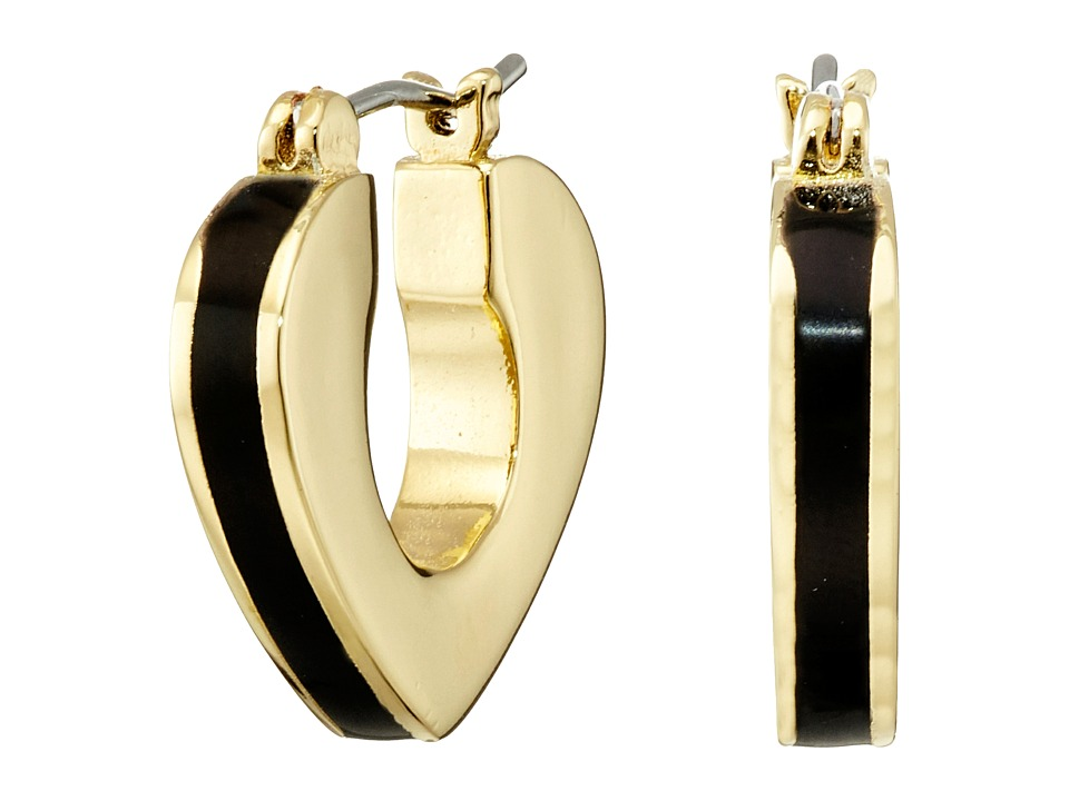 Marc by Marc Jacobs - Heart Core Enamel Heart Mini Hoop Earrings (Black) Earring