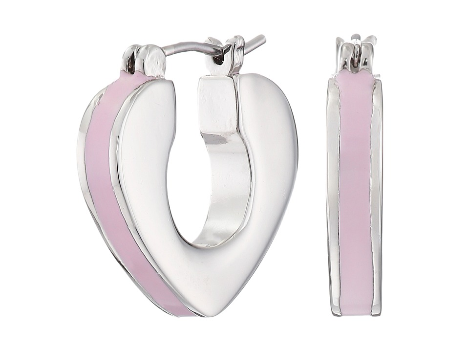Marc by Marc Jacobs - Heart Core Enamel Heart Mini Hoop Earrings (Frost Pink) Earring