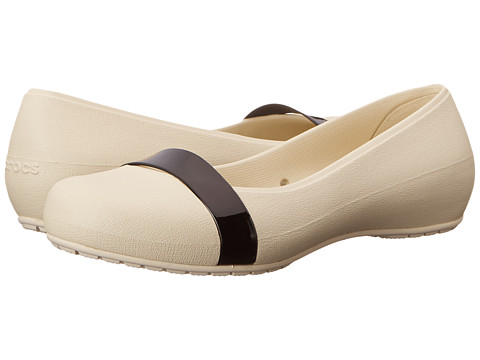 Crocs - New Commuter Plain Strap Flat (Stucco/Black) Women's Flat Shoes