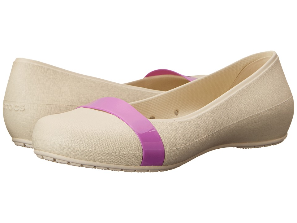 Crocs - New Commuter Plain Strap Flat (Stucco/Wild Orchard) Women's Flat Shoes