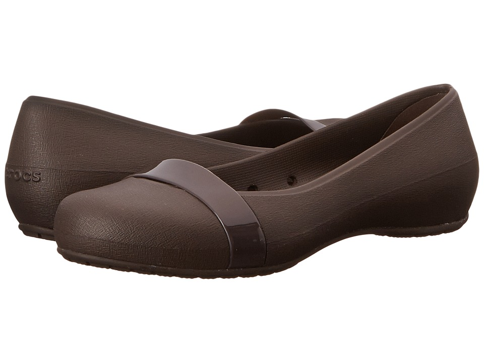 Crocs - New Commuter Plain Strap Flat (Espresso/Espresso) Women's Flat Shoes