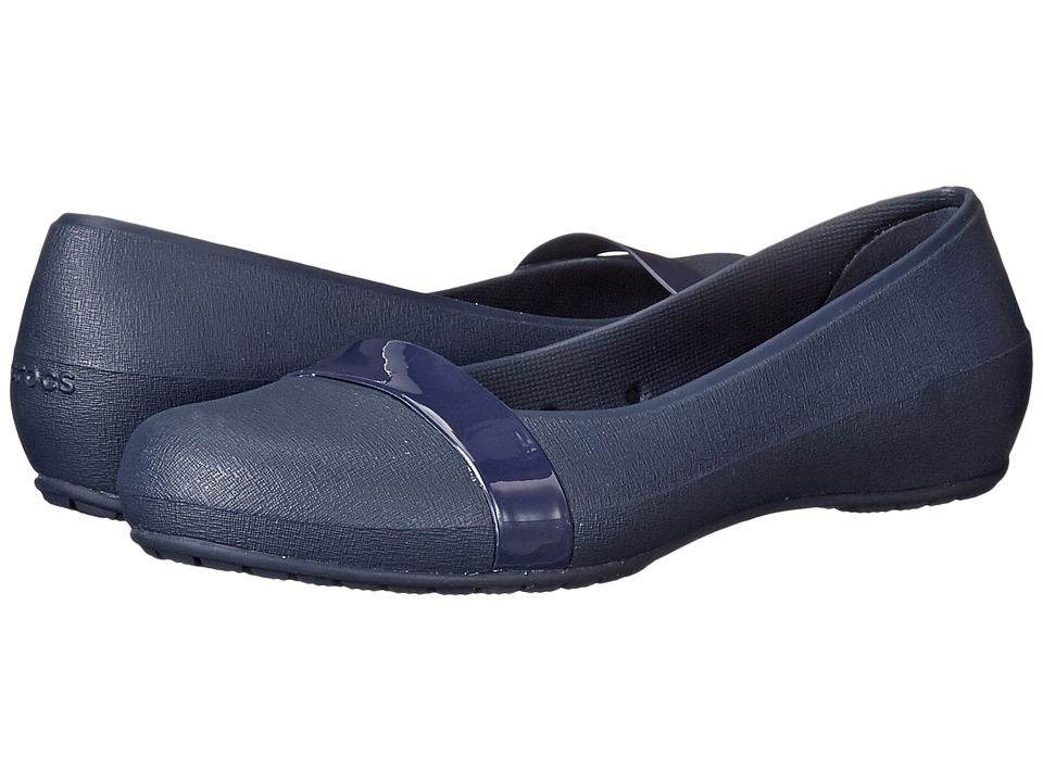 Crocs - New Commuter Plain Strap Flat (Navy/Navy) Women
