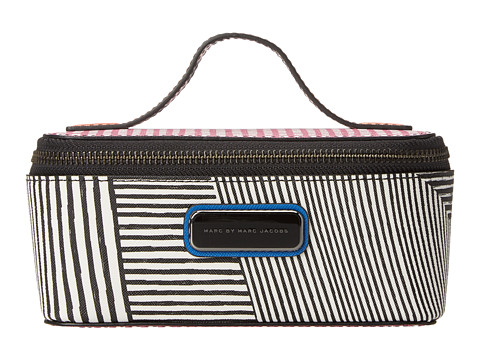 Marc by Marc Jacobs - Sophisticato Optical Stripe Multi Small Travel Cosmetic (Black Multi) Cosmetic Case