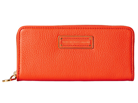 Marc by Marc Jacobs - Too Hot To Handle Slim Zip Around (Bright Tangelo) Checkbook Wallet
