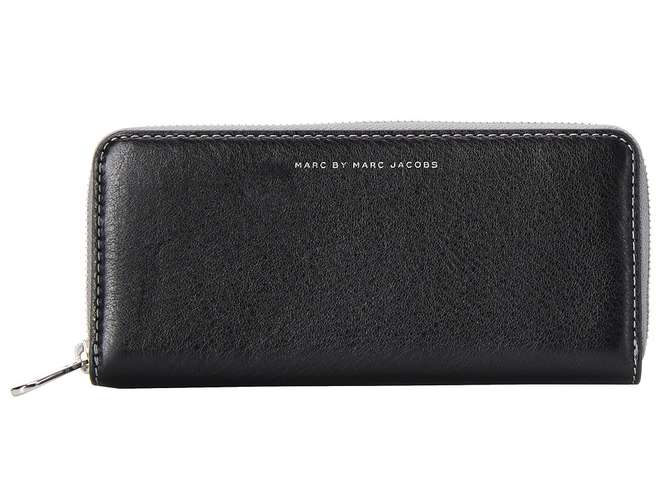 Marc by Marc Jacobs - Sophisticato Leather Pop Zipper Slim Zip Around (Black) Wallet