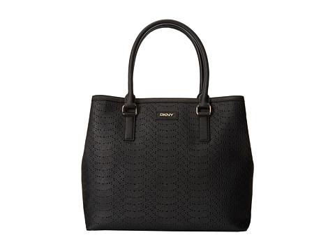 DKNY - Bryant Park - Python Large Square Tote (Black) Tote Handbags