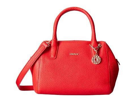 DKNY - Tribeca - Soft Tumbled Small Satchel w/ Center Zip and Det Shoulder Strap (Red) Satchel Handbags