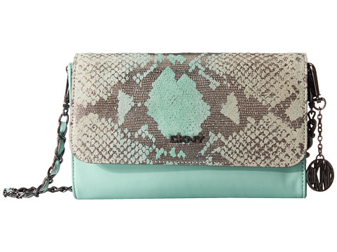 DKNY - Fashion - Metallic Python Print Small Flap Crossbody w/ Det Chain Handle (Aqua) Cross Body Handbags