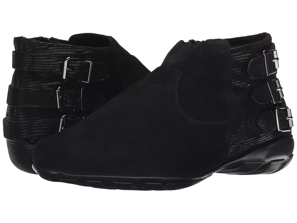 Vaneli - Artemis (Black Suede/Black Miniliz Print/Gunmetal Buckle) Women's Pull-on Boots