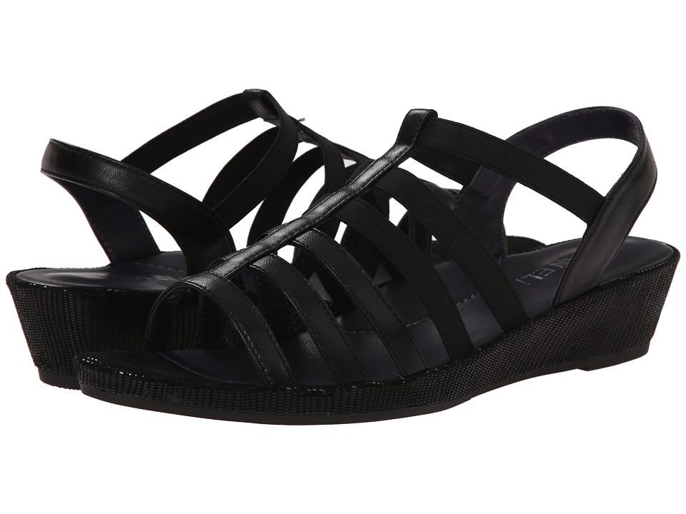 Vaneli - Darena (Black Nappa/Black Miniliz/Black Elastic) Women's Sandals