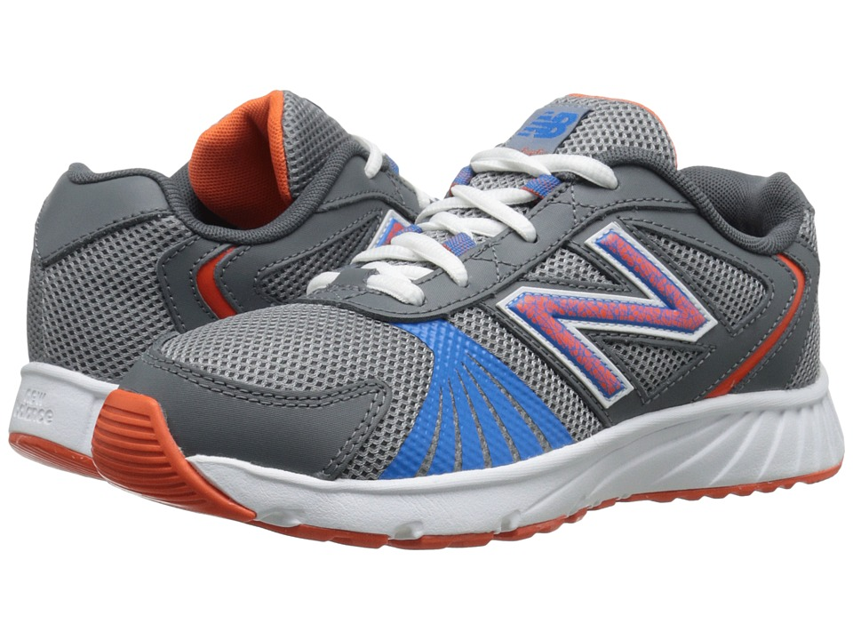 New Balance Kids 555 (Little Kid/Big Kid) (Grey/Orange) Boys Shoes
