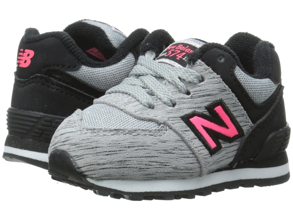 New Balance Kids - 574 Sweatshirt (Infant/Toddler) (Silver Mink/Pink Zing) Girls Shoes