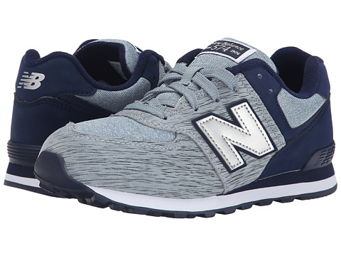 New Balance Kids - 574 Sweatshirt (Big Kid) (Grey/Navy) Boys Shoes
