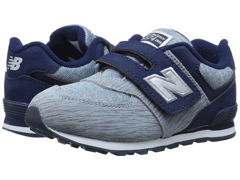 New Balance Kids - 574 Sweatshirt (Infant/Toddler) (Grey/Navy) Boys Shoes