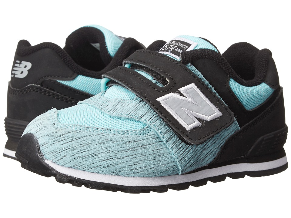 New Balance Kids - 574 Sweatshirt (Infant/Toddler) (Aqua/Black) Girls Shoes
