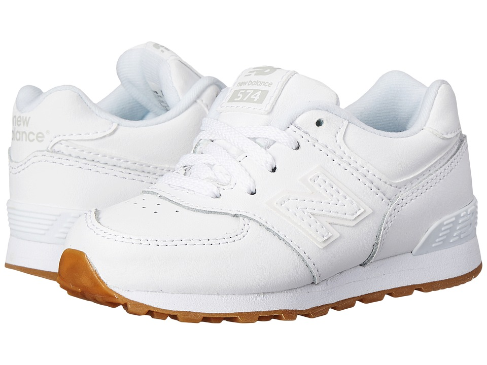 New Balance Kids - 574 Leather (Infant/Toddler) (White/Gum) Kids Shoes