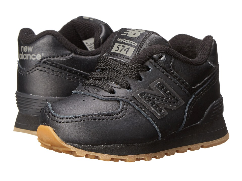 New Balance Kids - 574 Leather (Infant/Toddler) (Black/Gum) Kids Shoes