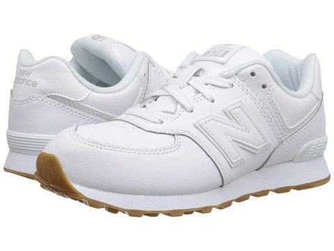 New Balance Kids - 574 Leather (Little Kid) (White/Gum) Kids Shoes