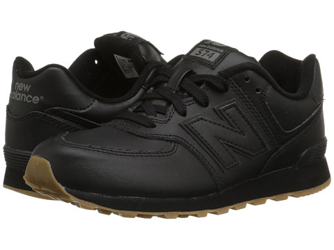 New Balance Kids - 574 Leather (Big Kid) (Black/Gum) Kids Shoes
