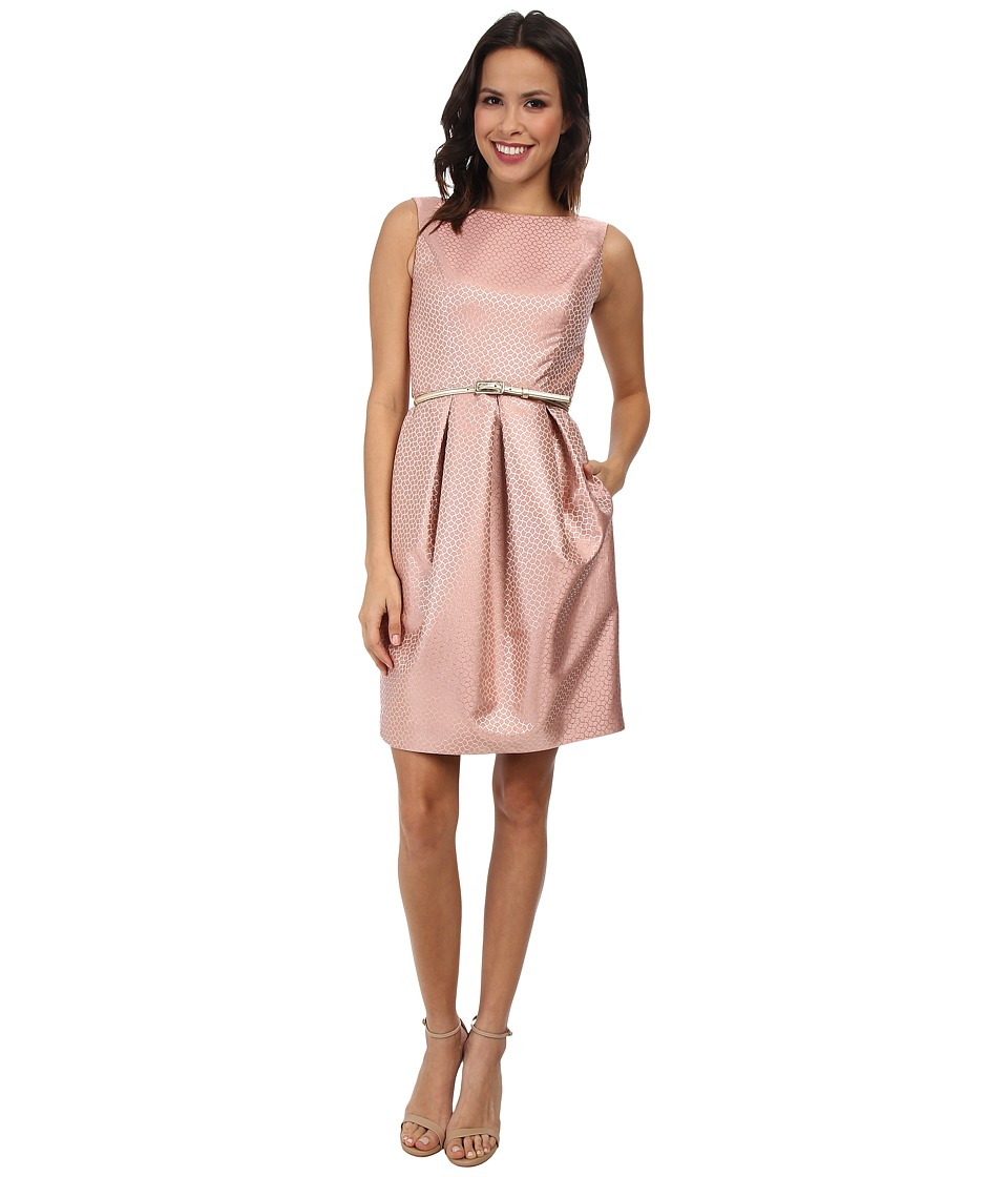 Eliza J - Jacquard Tulip Skirt Dress w/ Belt (Pink) Women
