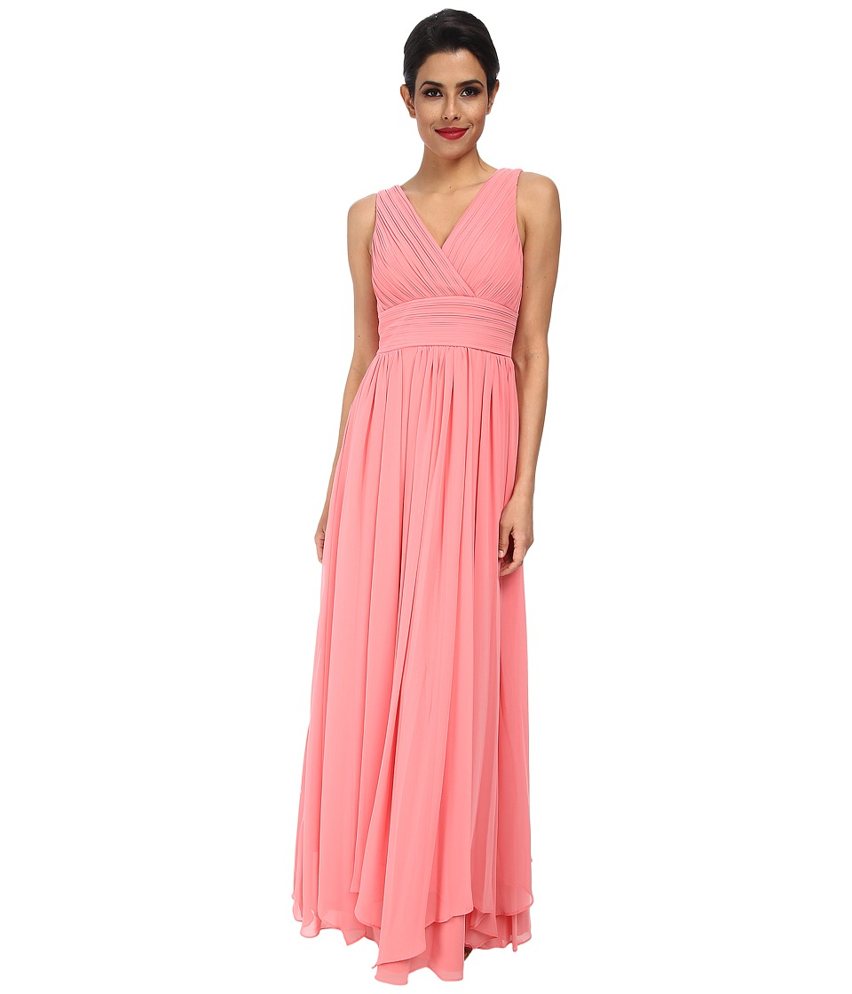 Eliza J - Sleeveless Pleated Bodice and Waist Gown (Coral) Women