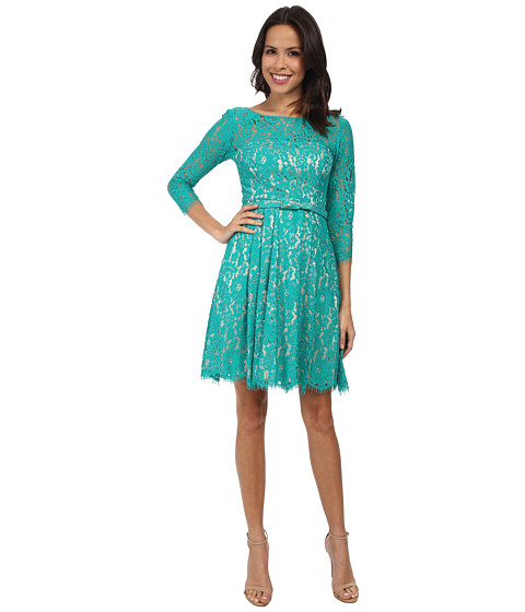 Eliza J - Long Sleeve Lace Fit Flare Dress w/ Pleated Skirt (Green) Women