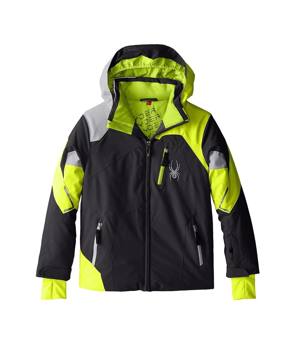 Spyder Kids - Leader Jacket (Big Kids) (Polar/Bryte Yellow/Cirrus) Boy's Coat
