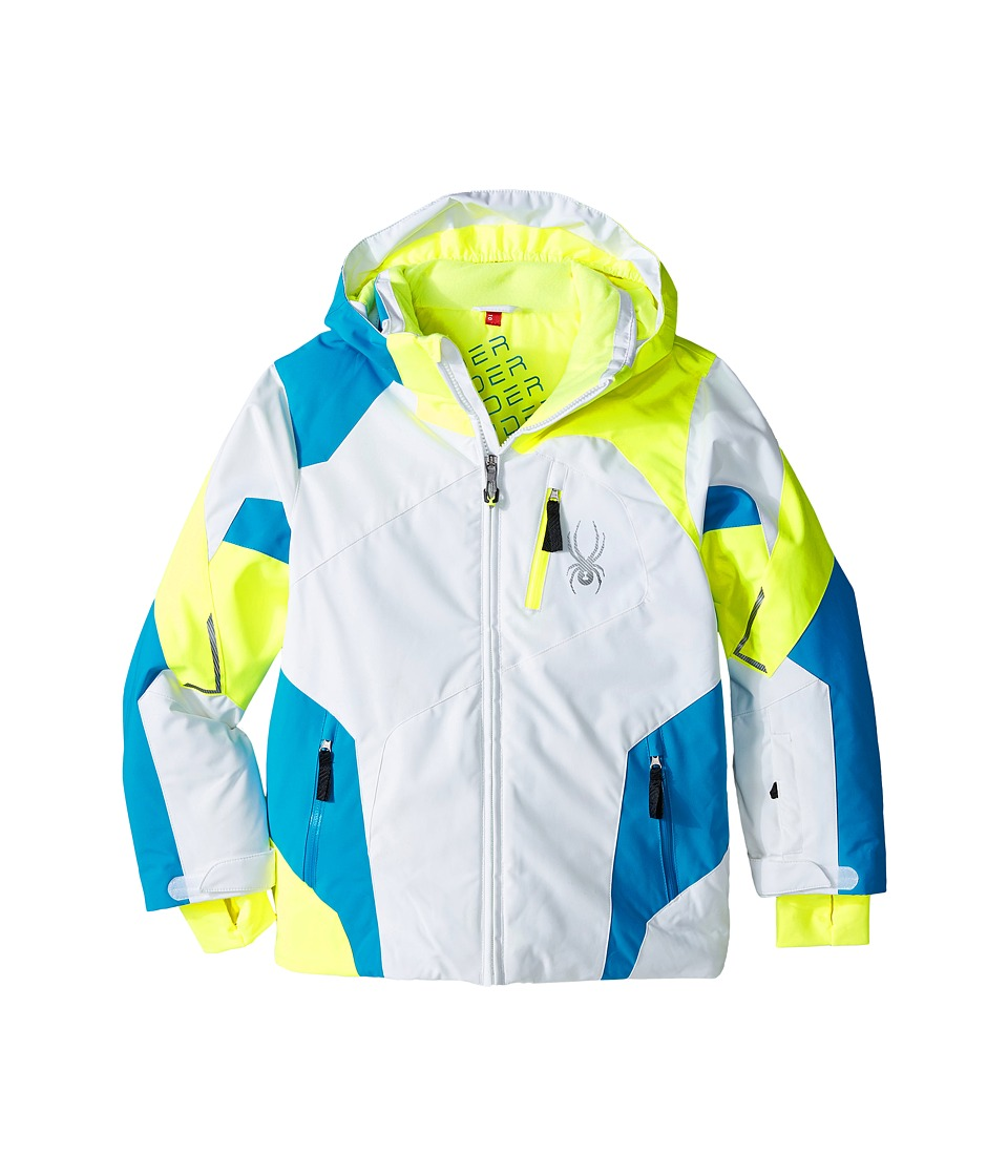 Spyder Kids - Leader Jacket (Big Kids) (White/Bryte Yellow/Electric Blue) Boy's Coat