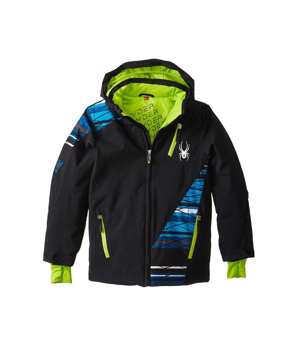 Spyder Kids - Enforcer Jacket (Big Kids) (Black/Black/Electric Blue Scaffolding) Boy's Coat