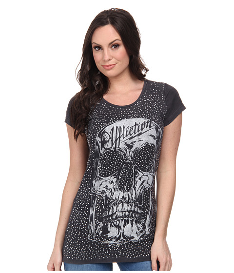 Affliction - AC Cabeza Cap Sleeve Scoop Neck Tee (Black Velvet Wash) Women's T Shirt