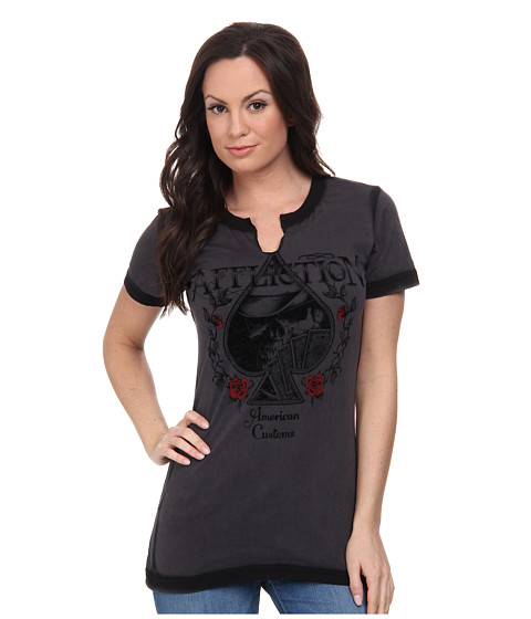 Affliction - AC Aces High Short Sleeve Slit Neck Tee (Charcoal Seam Wash) Women
