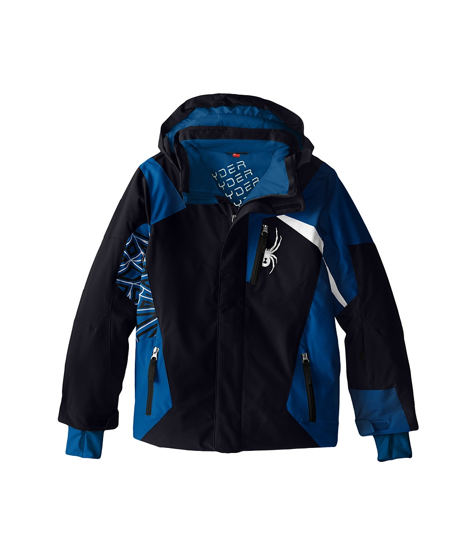 Spyder Kids - Challenger Jacket (Big Kids) (Black/Concept Blue/White) Boy's Coat