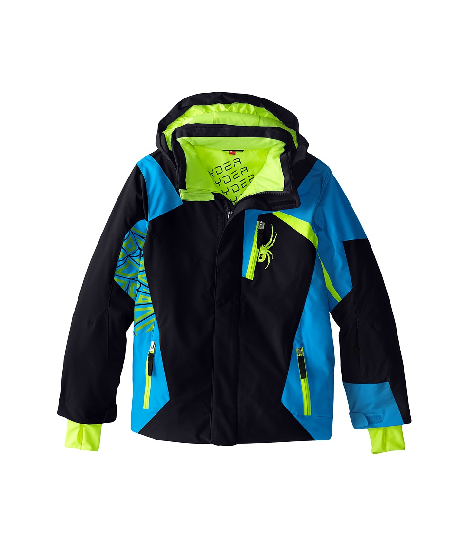 Spyder Kids - Challenger Jacket (Big Kids) (Black/Electric Blue/Theory Green) Boy's Coat