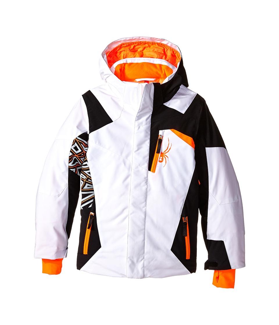 Spyder Kids - Challenger Jacket (Big Kids) (White/Black/Bryte Orange) Boy's Coat
