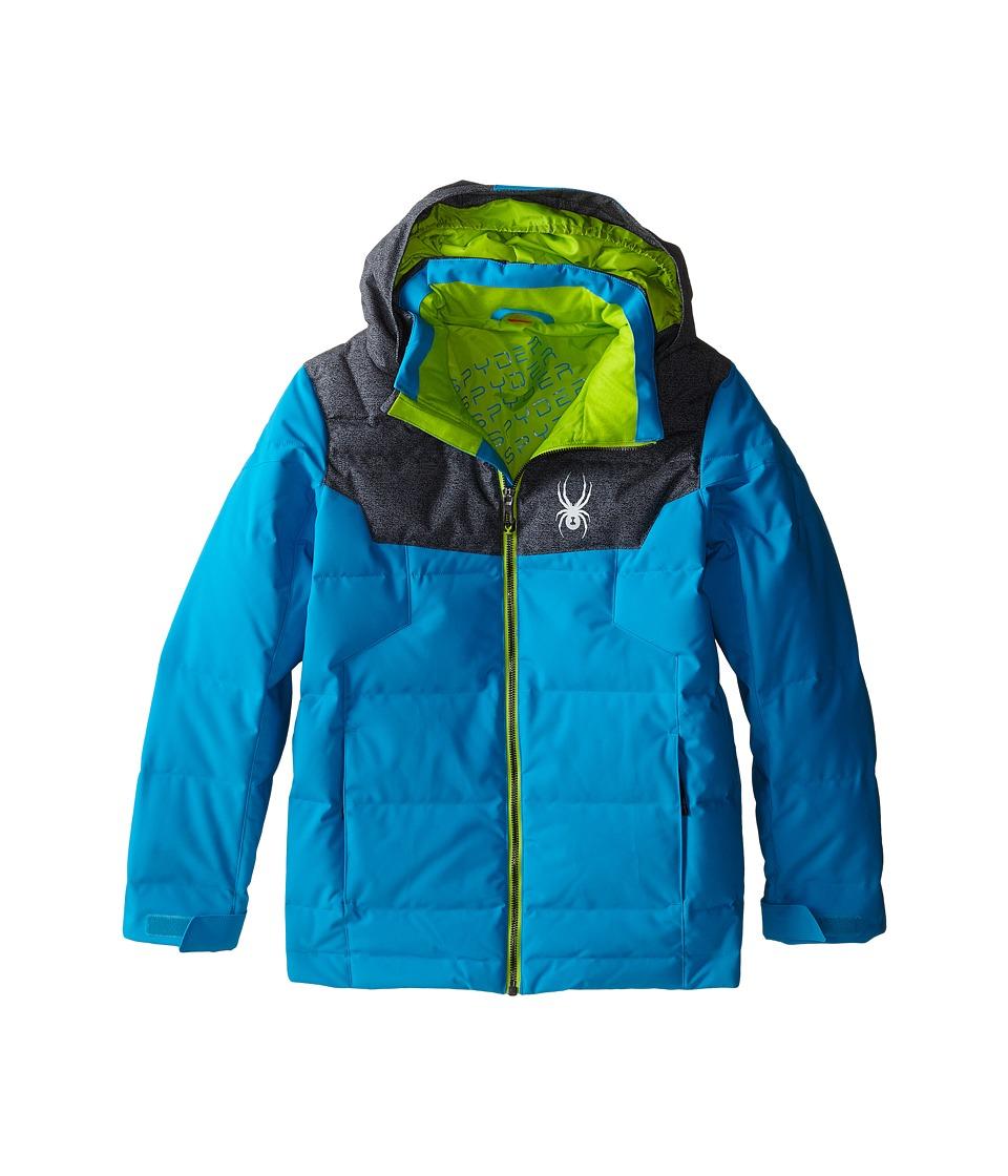 Spyder Kids - Clutch Down Jacket (Big Kids) (Electric Blue/Polar Wool Print/Theory Green) Boy's Coat