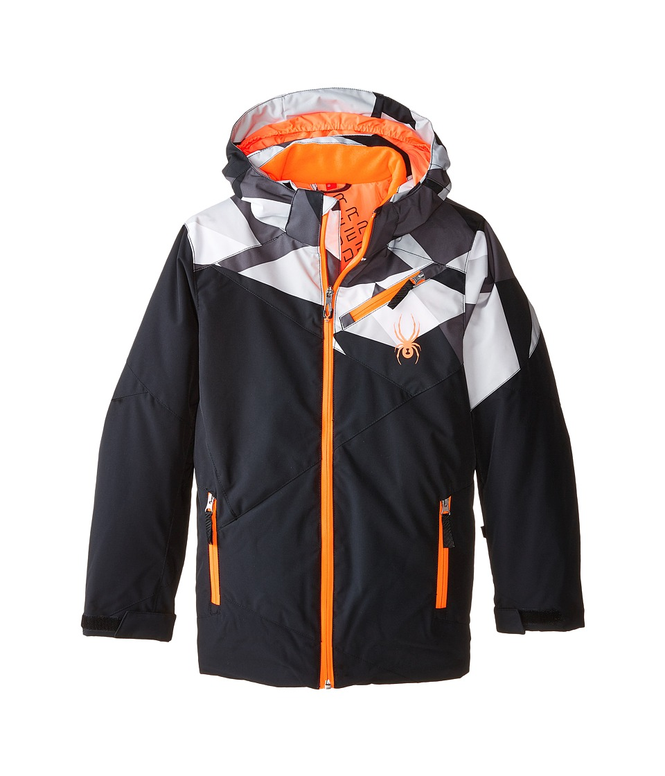 Spyder Kids - Ambush Jacket (Big Kids) (Black/Black Faceted Print/Black) Boy