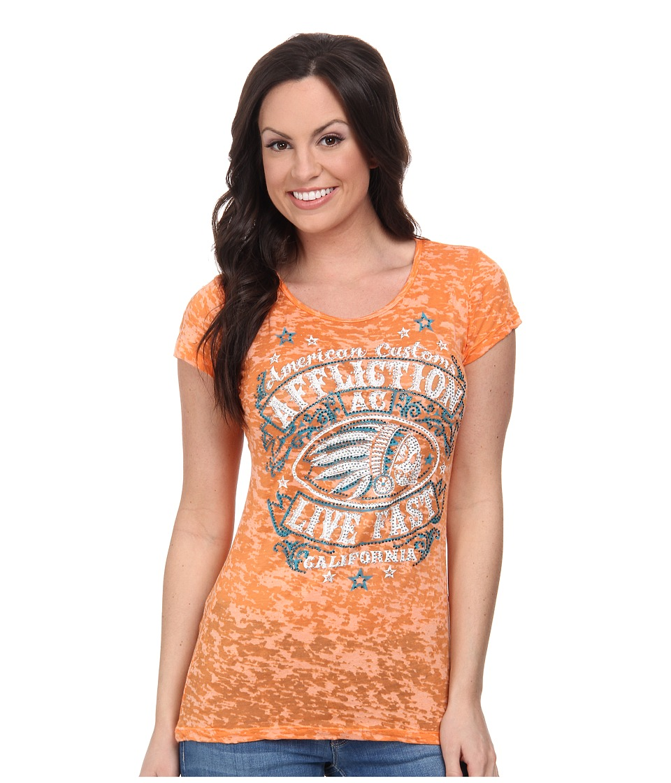 Affliction - AC Spanish Fly Cap Sleeve 50/50 Tee (Orange Burnout) Women