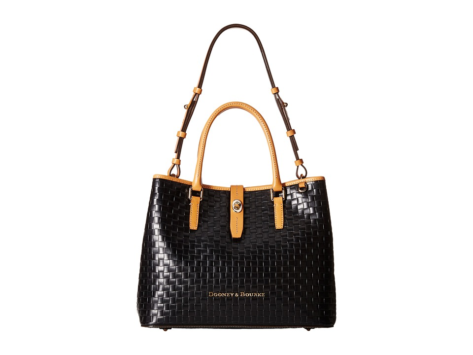 Dooney & Bourke - Claremont Woven Perry Satchel (Black w/ Butterscotch Trim) Satchel Handbags