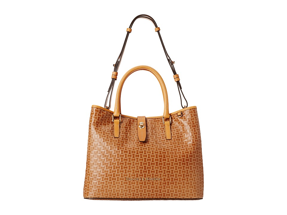 Dooney & Bourke - Claremont Woven Perry Satchel (Natural w/ Butterscotch Trim) Satchel Handbags