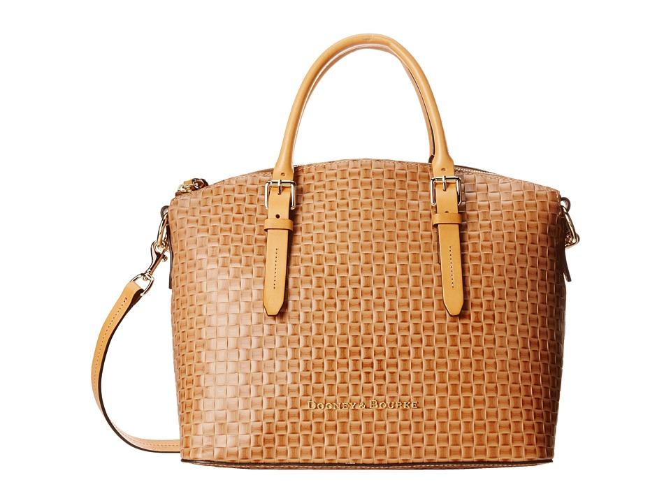 Dooney & Bourke - Claremont Woven Domed Satchel (Natural w/ Butterscotch Trim) Satchel Handbags