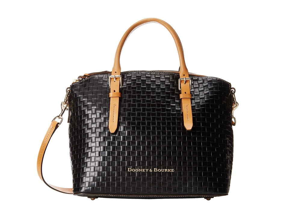 Dooney & Bourke - Claremont Woven Domed Satchel (Black w/ Butterscotch Trim) Satchel Handbags