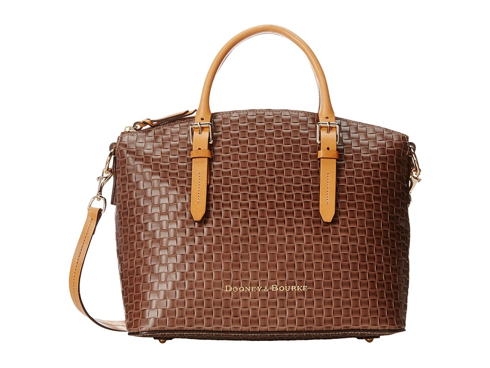 Dooney & Bourke - Claremont Woven Domed Satchel (Taupe w/ Butterscotch Trim) Satchel Handbags