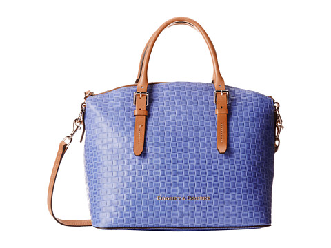 Dooney & Bourke - Claremont Woven Domed Satchel (Lavender w/ Butterscotch Trim) Satchel Handbags